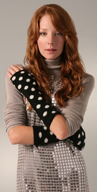 Alice + Olivia Polka Dot Fingerless Gloves