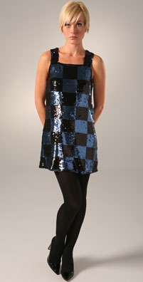 Alice + Olivia Sequin Check Shift Dress