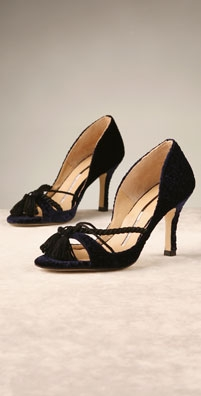 Beatrix Ong Coppelia Velvet Open Toe Pump