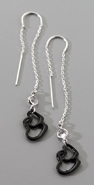 Gara Danielle Black Double Heart Drop Earrings