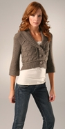 Juicy Couture 3/4 Sleeve Shawl Collar Cropped Cardigan coupon