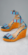 Kate Spade Shoes Cabana Striped Wedge Sandal coupon