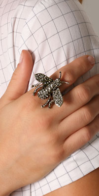 Kenneth Jay Lane Hematite Bee Ring