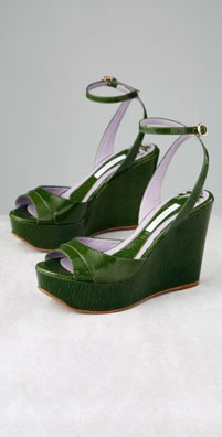 Pollini Patent Wedge with Ankle Strap