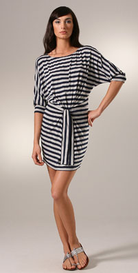 Vince Striped 3/4 Sleeve Tie Waist Dress