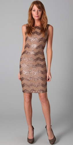 Alice + Olivia Chevron Sequin Dress