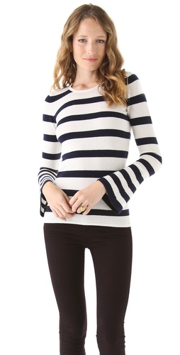 Ami Dans La Rue Bell Sleeve Striped Sweater