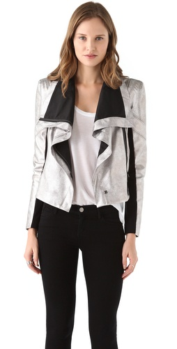 BCBGMAXAZRIA Orson Metallic Moto Jacket from waitpayment.com