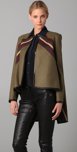 Derek Lam Caped Jacket with Leather Trim