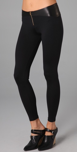 David Lerner Leather Yoke Leggings