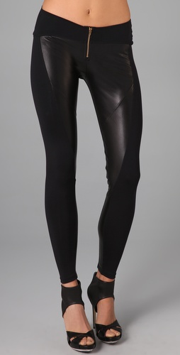 David Lerner Leather Front Zip Leggings