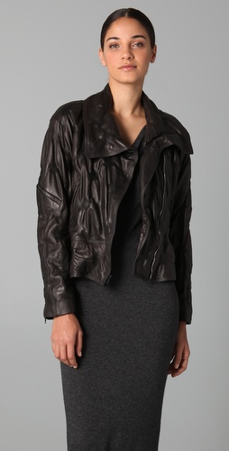 Donna Karan Casual Luxe Vintage Leather Bomber