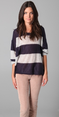 Free People Fluff Wide Stripe Pullover