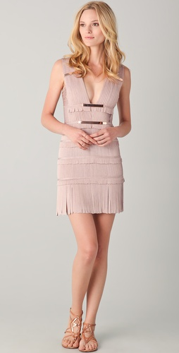 Herve Leger Fringe Dress with Metal Detail