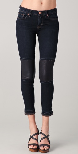J Brand Pieced Leather Capri Jeans
