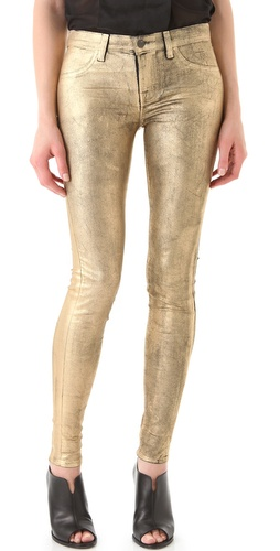 J Brand Super Skinny Coated Metallic Jeans