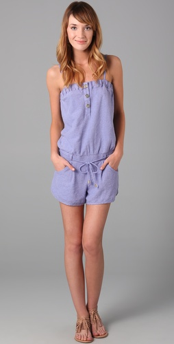 Juicy Couture Button Front Terry Romper with Linen Trim