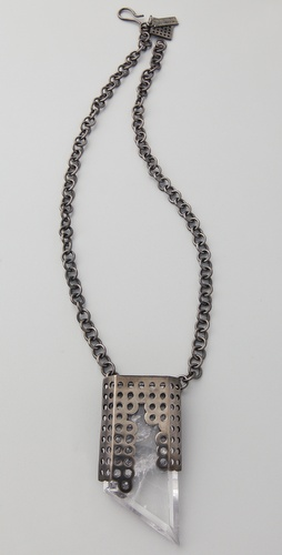 Kelly Wearstler Perforated Gunmetal & Quartz Pendant Necklace