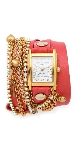 La Mer tokyo crystal wrap watch coral leather - crystal mixed-metal chains small charms - cool funky unique watch