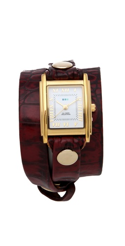 La Mer Collections Limited Edition Croco Wrap Watch - Burgundy - under $150