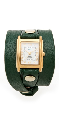 La Mer Wrap Watch - gold case - leather Emerald Dark Green Hunter Green - under $100 - professional watch for woman