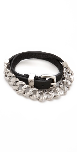Marc by Marc Jacobs Leather & Chain Double Wrap Bracelet