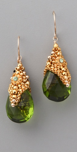 Miguel Ases Peridot Quartz Crystal Earring