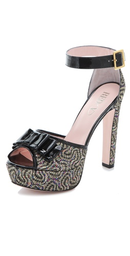 RED Valentino Glitter Platform Pumps