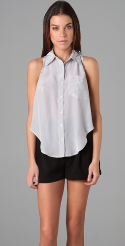 Reformation Pin Stripe Bridge Top