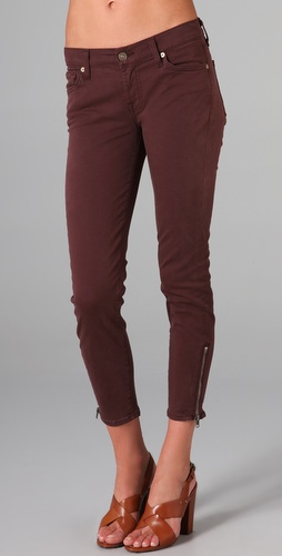 7 For All Mankind Twill Cropped Skinny Pants