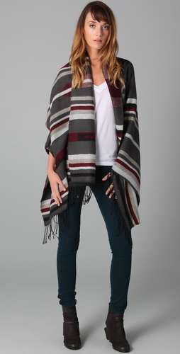 Spun Scarves Stripe Arizona Poncho Shawl