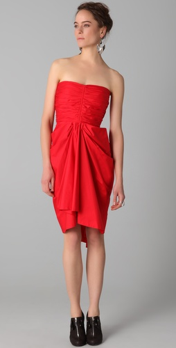 Thakoon Gathered Strapless Dress