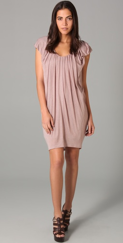 Three Dots Cap Sleeve Draped Dress