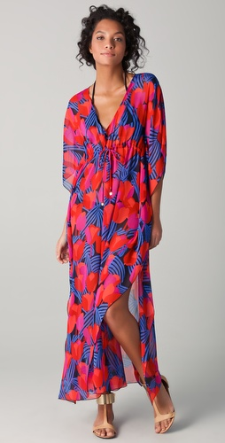 buy Tory Burch Print Silk Long Caftan by Tory Burch online swimsuits shop