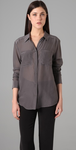 T by Alexander Wang Silk Chiffon Blouse with Pockets