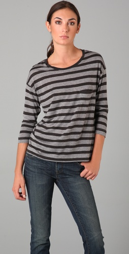 Vince Striped 3/4 Sleeve Pocket Tee