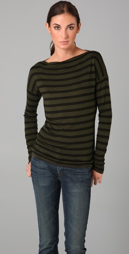 Vince Striped Boat Neck Tee