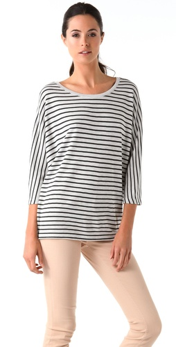 Vince Double Face Striped Dolman Top