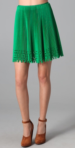 Willow Broidery Cutout Pleated Skirt
