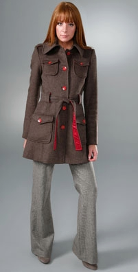 Alice + Olivia Military Trench with Self Tie