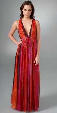 Alice + Olivia Low V Neck Floor Length Dress - shopbop.com from shopbop.com