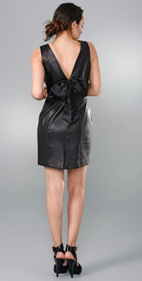 Alice + Olivia Leather Pencil Dress with V Back & Bow