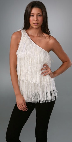 Alice + Olivia One Shoulder Feather Top
