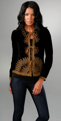 Anna Sui Viennese Daisy Soutache Velvet Jacket