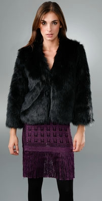 Anna Sui Long Hair Faux Fur Cropped Jacket