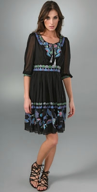 Anna Sui Hand Painted Floral Garden Dress