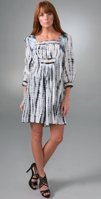 Anna Sui Tie Dye Circles & Stripes Dress