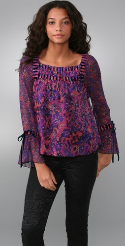Anna Sui Psychedelic Floral Blouse