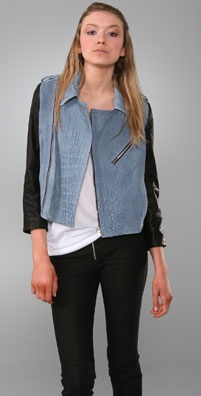 Alexander Wang Suede and Leather Motorcycle Jacket