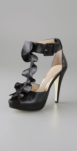 BE & D Kan Kan Platform Sandals with Ruffle T Strap